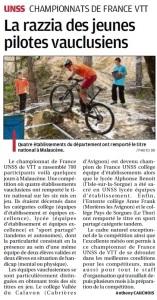 article la provence 03_06_16 France VTT