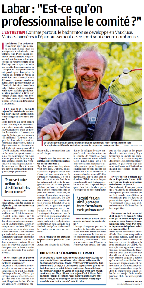 article la provence 04_05_16 le bad