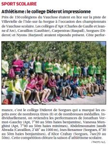article la provence 16_06_16 championnat d'athlétisme individuel