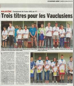 article Vaucluse Matin 28_05_16 Championnat de France UNSS de VTT
