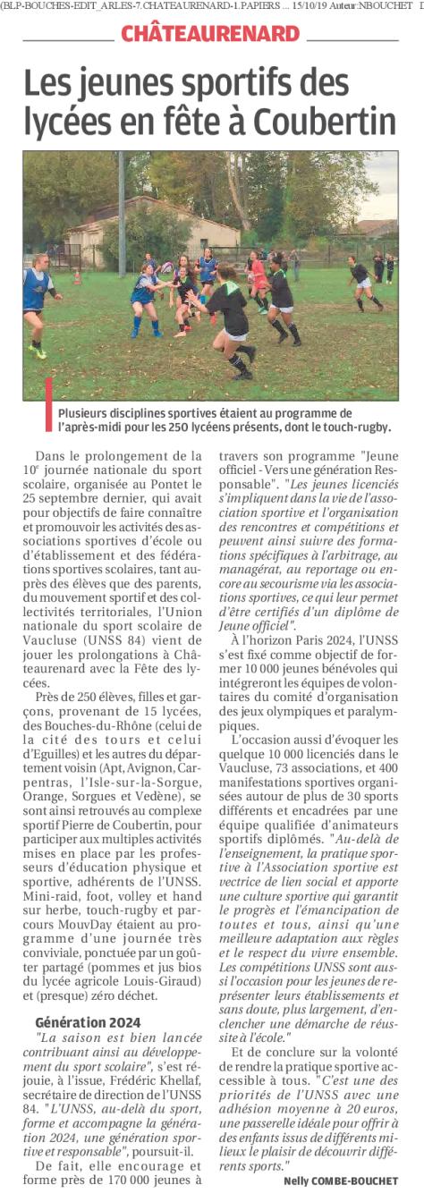 article la Provence_fete des lycées09oct19